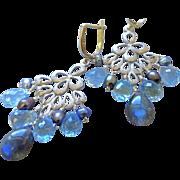 SALE Labradorite Topaz earrings, chandelier earrings, Topaz Silver earrings, Camp Sundance, Ge
