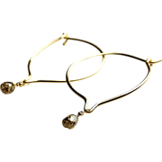 SALE Diamond Earrings, Champagne Diamond Hoop earrings, 0.30 cts, Diamond Hoops. Camp Sundance