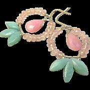 REDUCED Amazonite Hoops, Rose Quartz Earrings, Amazonite, Silver Hoop earrings, Camp Sundance,