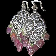 REDUCED Carved Tourmaline earrings, Silver Chandelier earrings, Camp Sundance, Gem Bliss