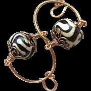 SALE Copper Hoops, Copper earrings, African beads, Camp Sundance jewelry, Gem Bliss