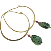 REDUCED Bold Hoop, hoop Earrings, Ruby Zoisite charms, Bronze hoop earrings, Camp Sundance sel