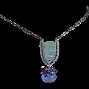 SALE Chalcedony, Amethyst, green quartz, blue pendant, Silver necklace, Camp Sundance, Gem Bli