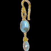 SALE Larimar Earrings, Gold filled, Blue Topaz earrings, December birthday, gift for her, Camp