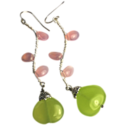 SALE Twig earrings, Green Chalcedony, Pink petal Twigs, branch, vine, Silver earrings, Camp Su