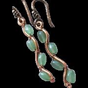 SALE Green Twig earrings, Copper branch earrings, dangle drops, Vine, Camp Sundance, Gem Bliss
