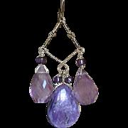 SALE Charoite, Amethyst, Silver Chandelier earrings, purple earrings, Camp Sundance, Gem Bliss
