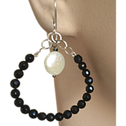 SALE Jet black  Silver oval hoops Coin Pearl earrings, Camp Sundance, Gem Bliss