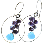 SALE Amethyst, Peruvian Opal, Silver hoop earrings, February Birthstone, Camp Sundance, Gem Bl