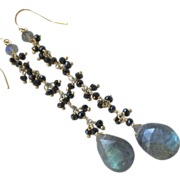 SALE Black Spinel Labradorite Statement earrings Gem Bliss