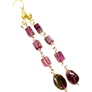 REDUCED Pink and Watermelon Tourmaline 22k Vermeil hook earrings Camp Sundance Gem Bliss