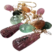 SALE Blue Tourmaline briolettes, Rainbow Tourmaline dangle earrings Rubellite 22K Vermeil Camp