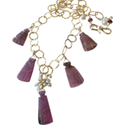 SALE Tourmaline necklace Carved Rubellite briolettes gold necklace Camp Sundance Gem Bliss