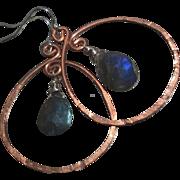 SALE Copper Hoop earrings, Labradorite earrings, Copper earrings rustic hoops urban cowgirl Ca