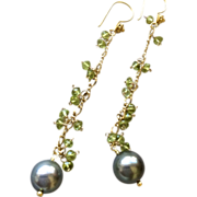 SALE Peridot earrings Tahitian Pearls earrings Vermeil chandelier earrings Gem Bliss