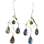 SALE Labradorite Earrings Silver earrings, blue Chandeliers Gem Bliss