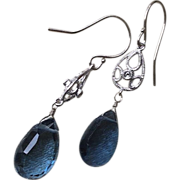 SALE London Blue Topaz Diamond 14K White Gold Dangle Earrings Gem Bliss