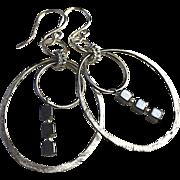 SALE Silver Hoops Hematite Earrings Gem Bliss