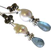 SALE Moss Aquamarine Earrings, Baroque Pearl, Silver Earrings, Camp Sundance, Gem Bliss