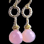 Pink Chalcedony drop earrings caviar vermeil beads Camp Sundance