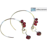 Silver Garnet Hoop earrings, wire wrapped Garnets, Camp Sundance, Gem Bliss