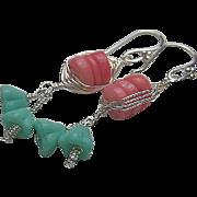 SALE Coral Silver weave wrap aqua trumpet flowers bouquet dangle drop earrings