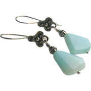 Peruvian Opal Silver drop earrings Gem Bliss Camp Sundance jewelry