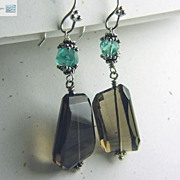 SALE Apatite Smokey Quartz drop earrings sparkling briolettes Bali Camp Sundance