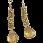 Citrine  drop earrings gem briolette stack14k gold filled Camp Sundance