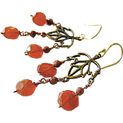Goldstone Carnelian earrings Camp Sundance 14k gold filled Fall leaves