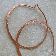 SALE Hoop handcrafted forged Copper self closing textured Camp Sundance earrings