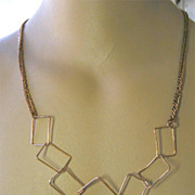SALE Mod Copper square link rings on cable long necklace