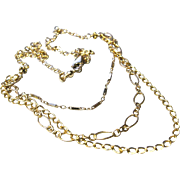 SALE Triple Strand mixed links necklace Gold filled Camp Sundance