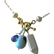 SALE Larimar necklace, Kyanite necklace, Keshi Pearls, charms Necklace, Gold filled, Camp ...