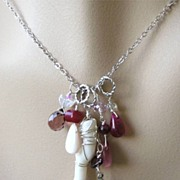 Garnet Coral necklace key charms Camp Sundance convertible Sterling Silver