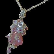Pink Chalcedony, Keshi Pearl, layering necklace, embellished pendant, Camp Sundance, Gem Bliss