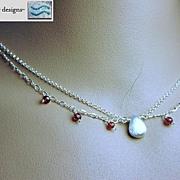 Garnet Silver necklace Rhodolite raspberry 2 strand Camp Sundance