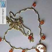 Carnelian Keshi scallop necklace freshwater Petal Pearl 14k Gold filled Camp Sundance