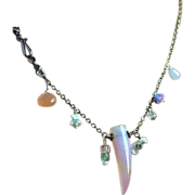 Asymmetrical, Silver necklace, gemstone charms, Camp Sundance, Gem Bliss