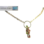 Tourmaline necklace, Silver Watermelon Slice, Peridot, cascade necklace, Camp Sundance, Gem ..