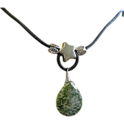 Green Tree Agate, Leather Necklace, rustic Necklace, Camp Sundance Jewelry, Gem Bliss Designs