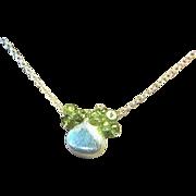 SALE Peridot necklace, Silver pendant, green necklace, ruffle cluster Camp Sundance, Gem Bliss