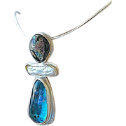 Dichroic, Keshi Pearl pendant, art glass necklace, Silver, Camp Sundance, Gem Bliss