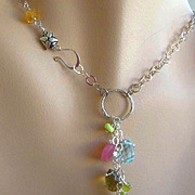 SALE Lemon Topaz charms Camp Sundance necklace circle cascade Silver link toggle