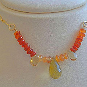 SALE Lemon Topaz Camp Sundance necklace Carnelian Citrine gold filled