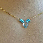 SOLD Topaz Swiss blue marquis Turquoise solitaire necklace Camp Sundance Gold filled