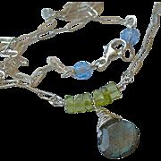 SALE Labradorite necklace, Peridot, solitaire necklace, layering necklace, Silver necklace, ..