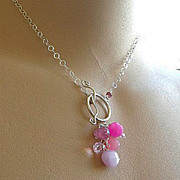 Pink Peonies toggle necklace briolette cluster Sterling Silver Camp Sundance
