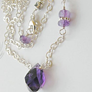 SOLD Violet Amethyst solitaire Camp Sundance necklace Sterling Silver