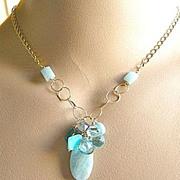 SALE Amazonite Necklace, Aquamarine, Apatite, Topaz, gem cascade necklace, Peruvian Opal Clust